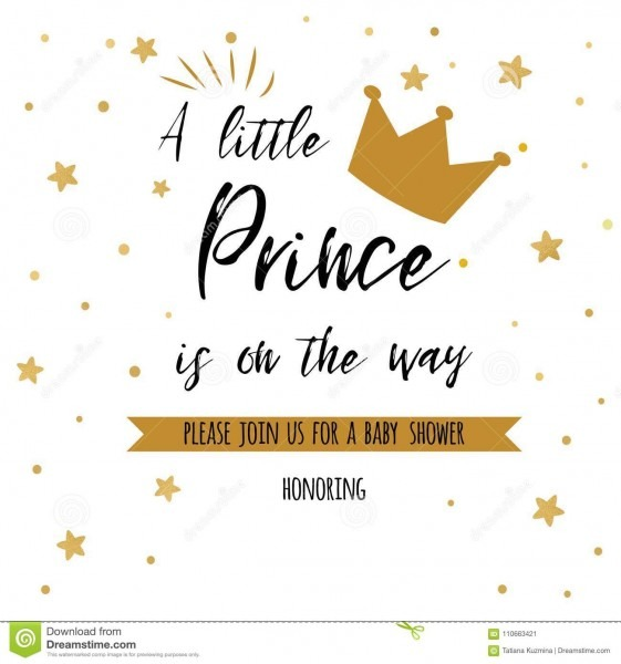 Text A Little Prince Is On The Way With Gold Stars, Golden Crown