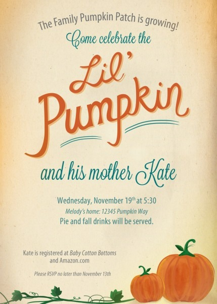 Thanksgiving Pumpkin Baby Shower Invitations And His Mother Kate