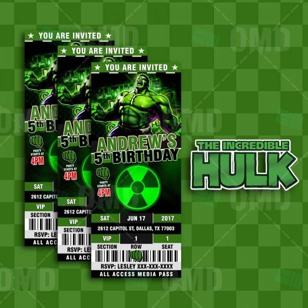 The Incredible Hulk Ticket Style Birthday Cartoon Invites