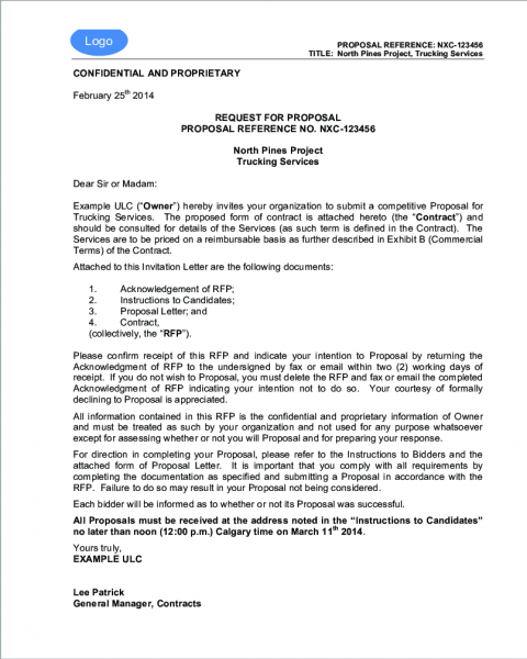 Rfi Letter Invitation