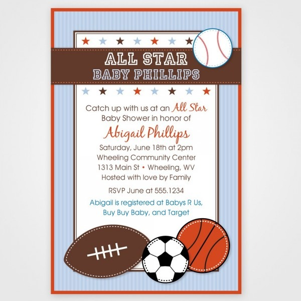 Theme Sports Themed Baby Shower Invitation App Sports Best Way To