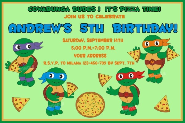 Tmnt Birthday Invitation Ninja Lovely Ninja Turtles Birthday