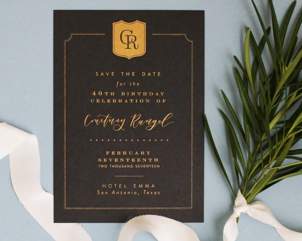 Traditional Black And Gold Screen Printed Invitations