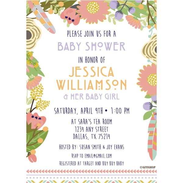 Floral Tribal Baby Shower Invitation