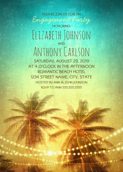 Tropical Beach Engagement Party Invitations