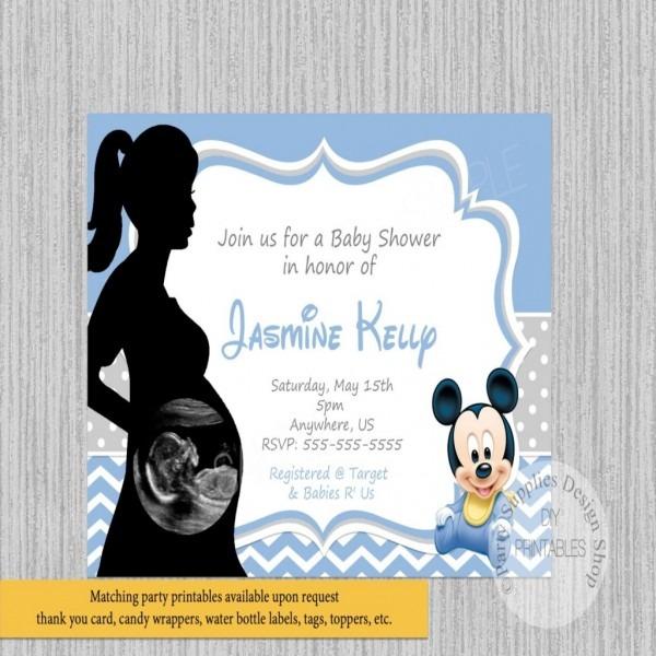 Ultrasound Baby Shower Invitations Ultrasound Ba Mickey Ba Shower
