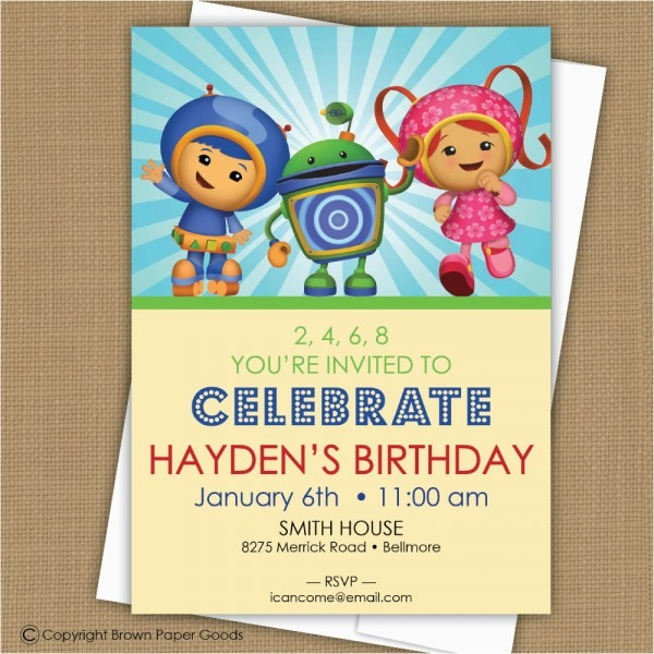 Umizoomi Birthday Invitations Team Umizoomi Birthday Invitation By