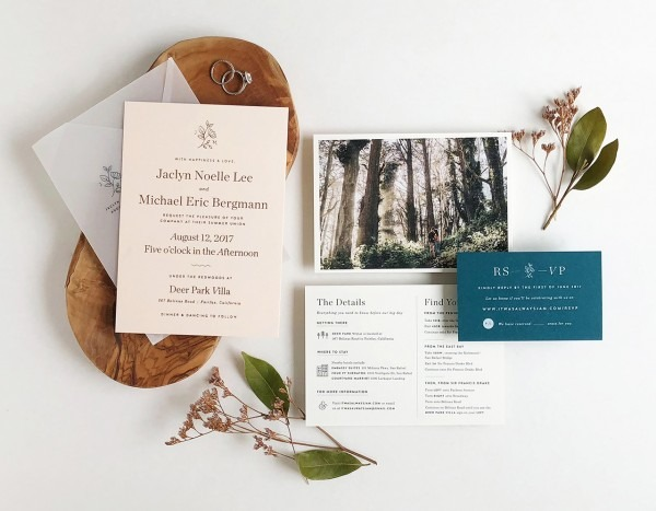 Understated Blush And Teal Wedding Invitations