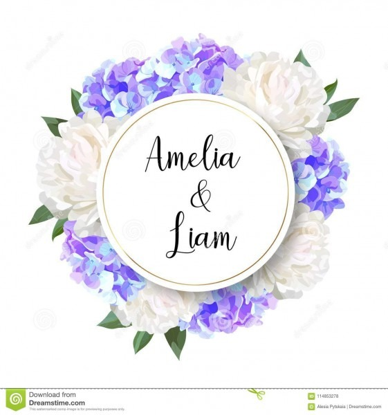 Vector Floral Wedding Invitation With Blue Hydrangeas, Peonies In
