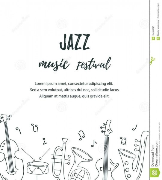 Vector Illustration With Saxophone, Guitar, Violin, French Horn
