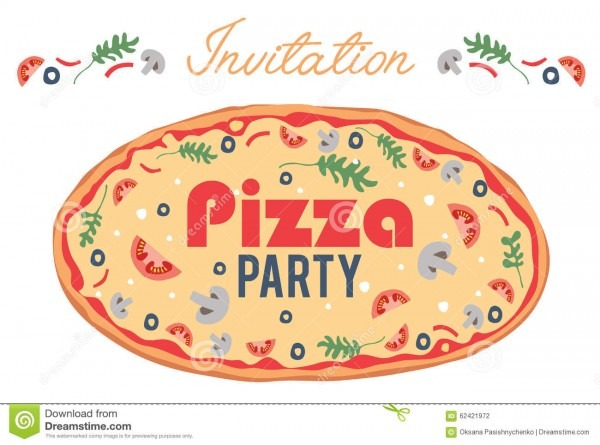 Vector Pizza Party Invitation Poster Flyer Card Stock Vector