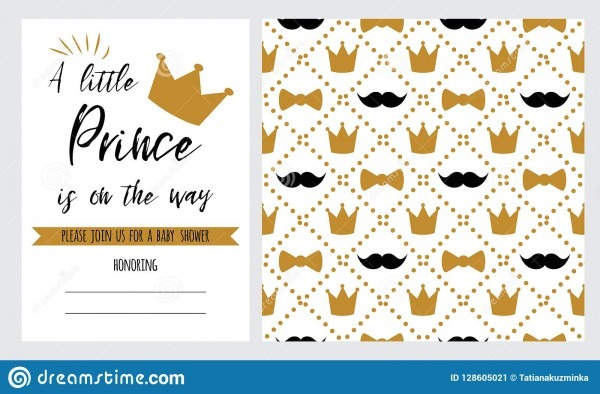 Vector Set Baby Shower Invitation Template, Backgtround With Gold