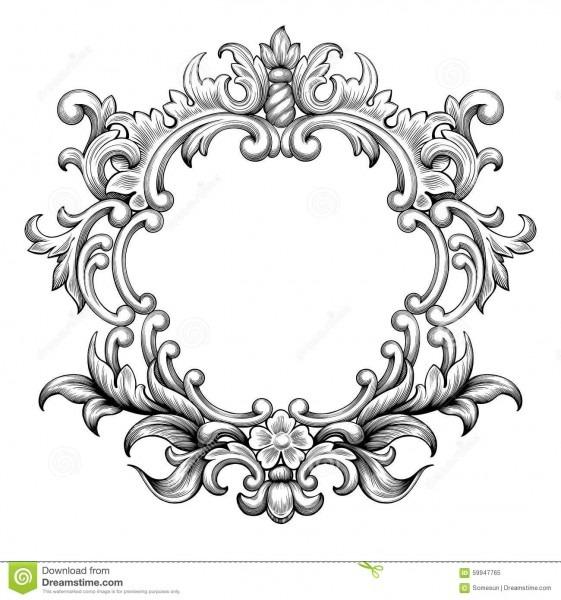 Vintage Baroque Frame Engraving Scroll Ornament Vector Stock