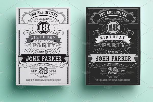Vintage Birthday Unique Retro Birthday Invitation