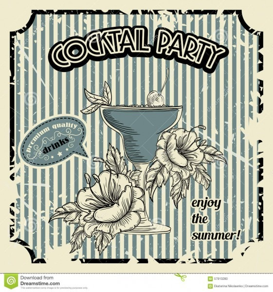 Vintage Cocktail Party Poster With Cocktail, Tropic Flowers And