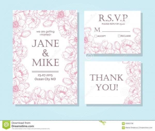 Vintage Elegant Wedding Invitation Card Template Set With Anemone