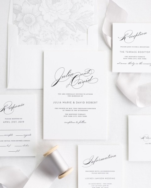 Luxury Wedding Invitations With Platinum Silk Ribbon – Wedding