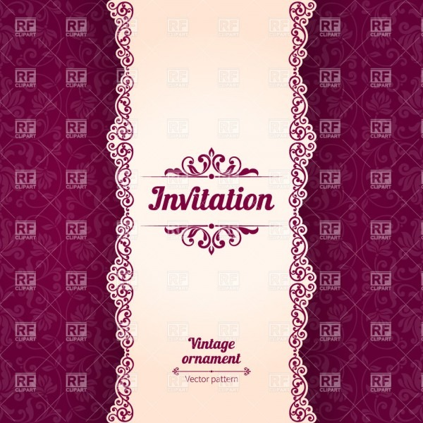 Vintage Invitation Card Template With Damask Ornament And Vertical