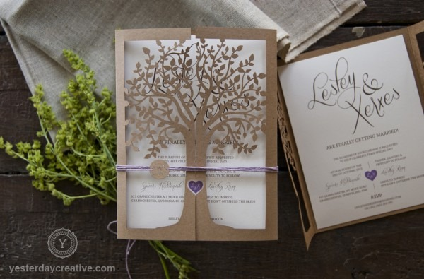 Laser Cut Tree Wedding Invitations