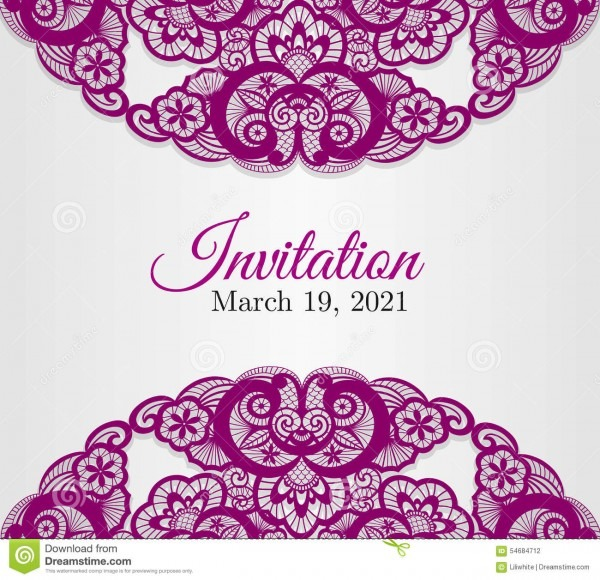 Vintage Silver Wedding Invitation Cover With Lace Stock Vector