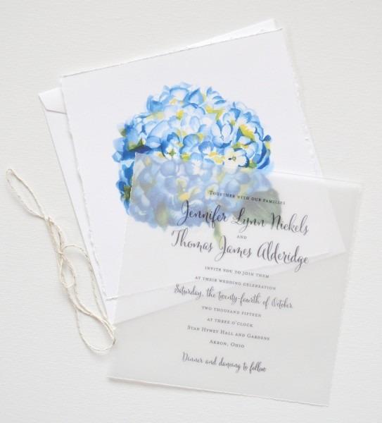 Watercolor Hydrangea Floral Wedding Invitations