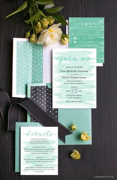 Watercolor Teal Wedding Invitations
