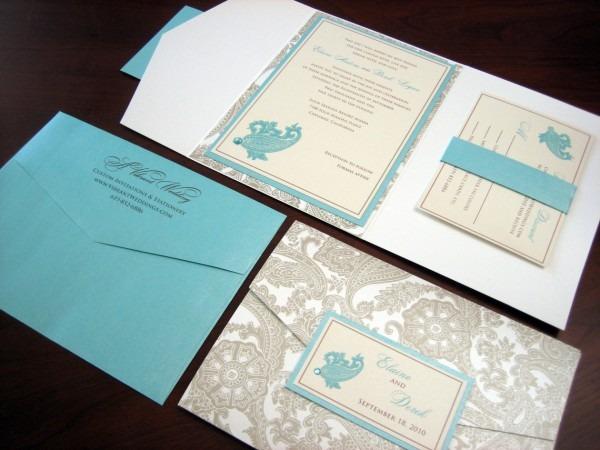 Tiffany Blue & White Wedding Invitation W  Turquoise Bling! – A