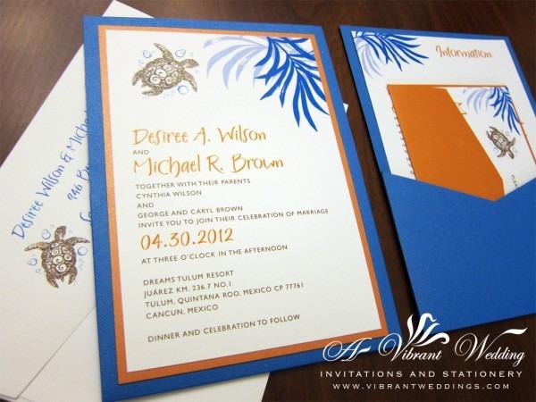 Orange And Blue Wedding Invitation – A Vibrant Wedding Invitations