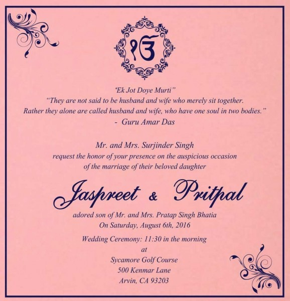 Wedding Card Matter In English For Daughter Fresh Indian Wedding