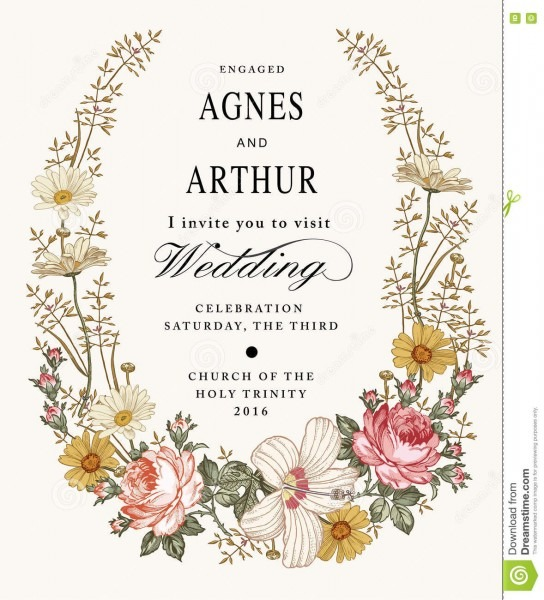 Wedding Invitation  Beautiful Flowers Chamomile Rose Hibiscus