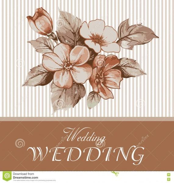 Wedding Invitation  Beautiful Realistic Apple Flowers  Vintage