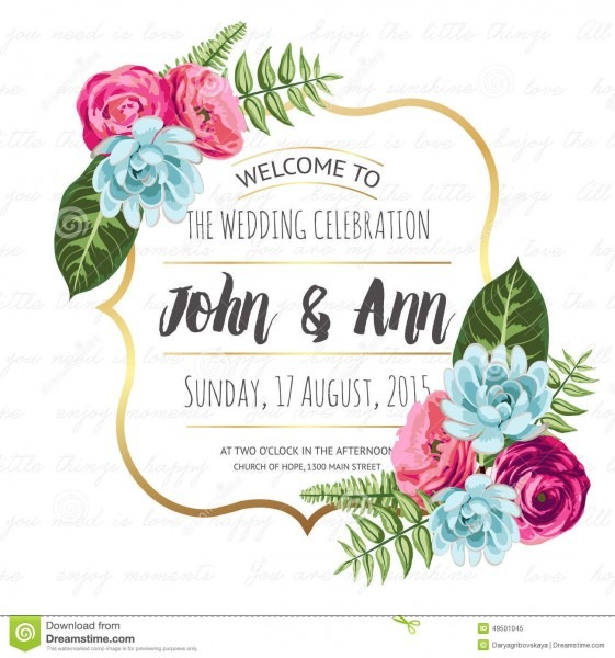 Wedding Invitation Card With Painted Flowers Stock Vector
