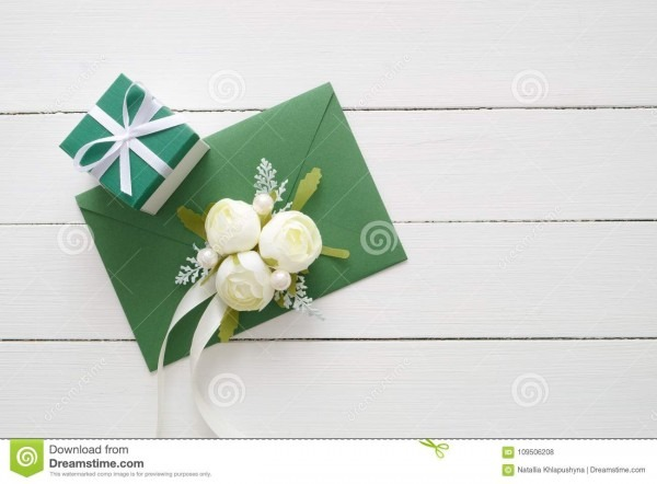 Wedding Invitation Card Or Valentines Day Letter In Green Envelope