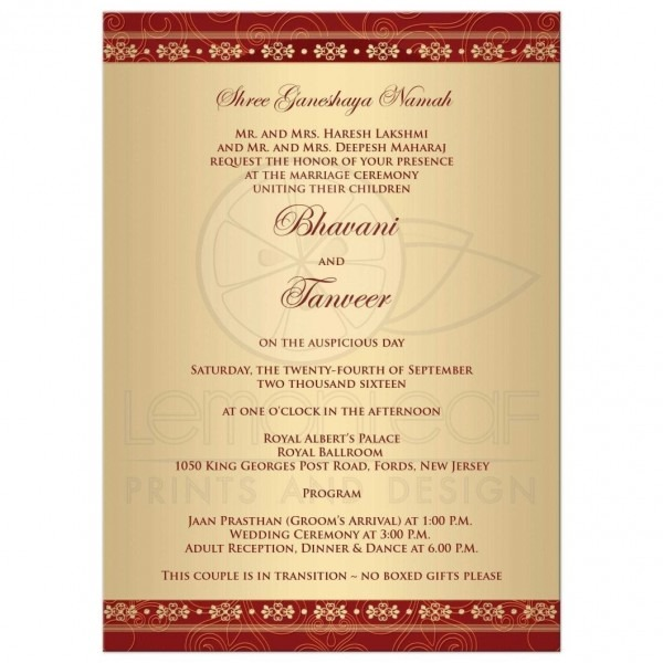 Wedding Invitation Cards Hindu Marriage Card Matter In English New