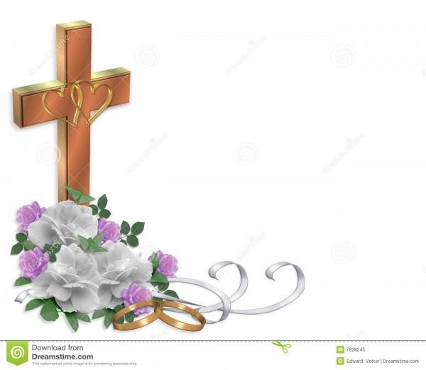 Wedding Invitation Christian Cross Stock Illustration