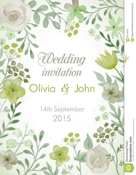 Wedding Invitation With Flowers And Leaves  Stock Vector