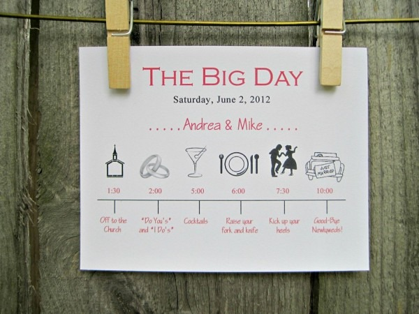 Wedding Invitation Timeline Day Card Schedule Of Events