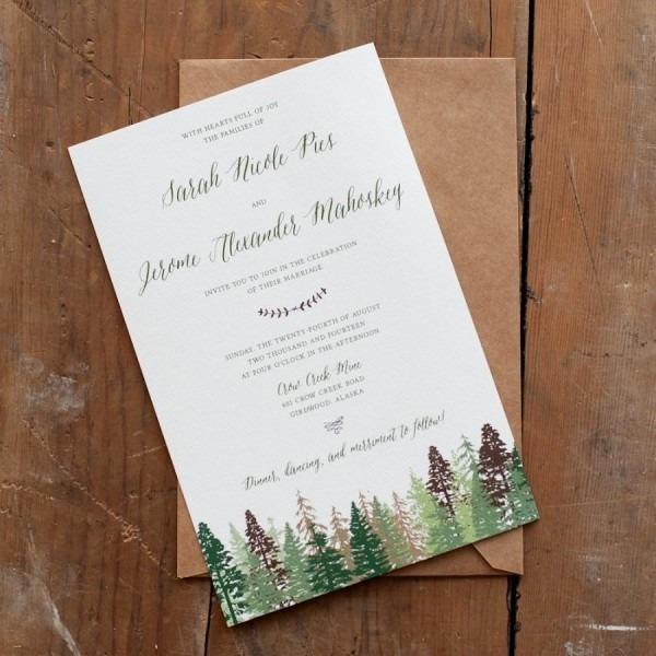 Wedding Invitation, Tree Wedding Invitation, Mountain Wedding
