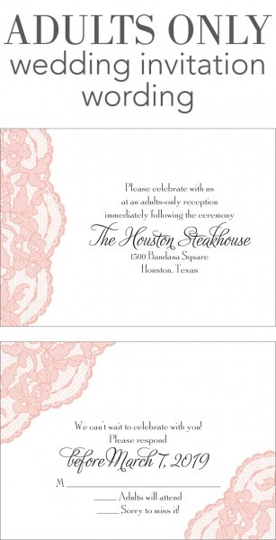 Wedding Invitation Wording Limited Guests Adults Only Invitations