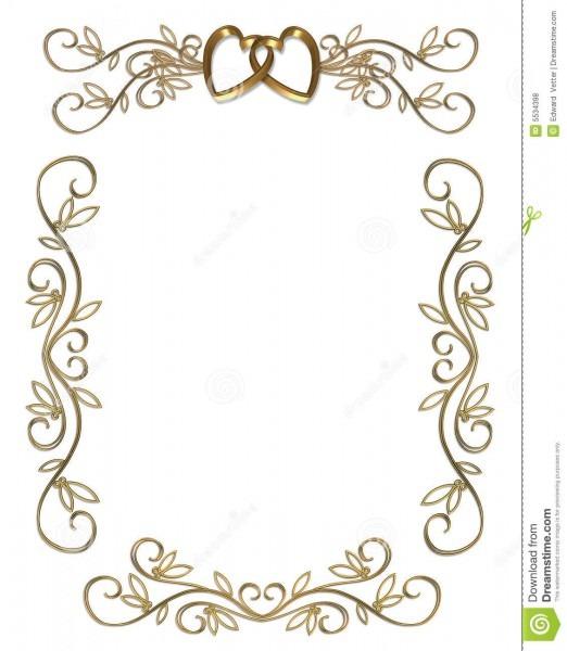 Wedding Or Party Invitation Gold Border Stock Illustration