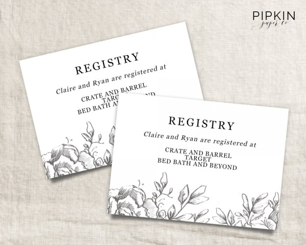 Wedding Registry Cards Templates