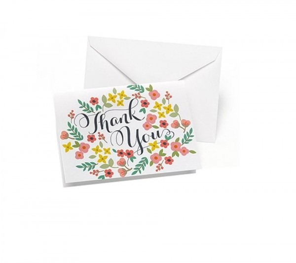 Wedding Retro Floral Thank You Cards 50 Count Floral Theme Wedding