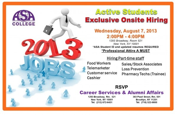 Asa Student Job Fair Wednesday, August 7th 2 00pm