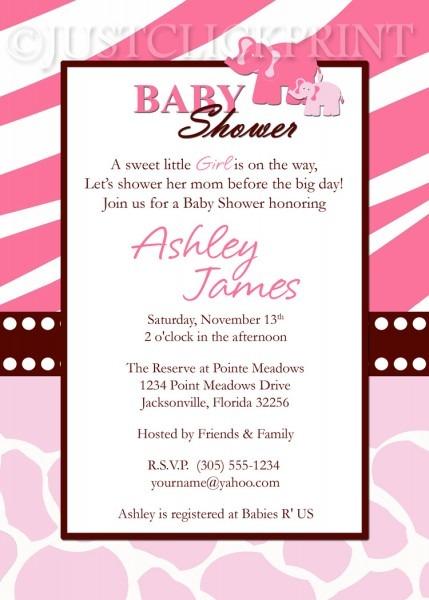 Wild Safari Pink Baby Shower Invitation Printable · Just Click