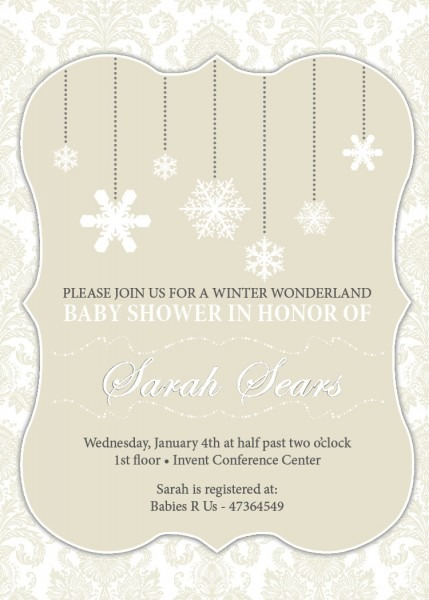 Winter Baby Shower Invitations Templates