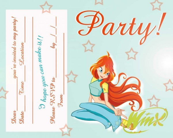 Free Love Quotes  Free Winx Club Fairis Printable Party Invitation