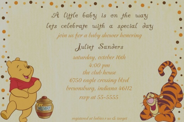 Wonderful Winnie The Pooh Baby Shower Invitations Templates Free