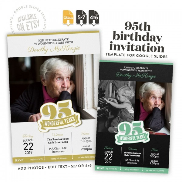 85 Wonderful Years Invitation Template