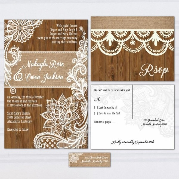 Wood Lace Wedding Invitation Suite, Burlap And Lace, Wood Panel