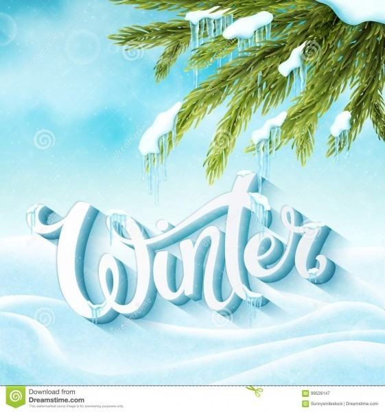 Word Winter With Snow And Icicles Stock Vector